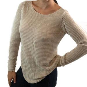 Tahari   Cream Color 100% Linen Size Xs Sweater